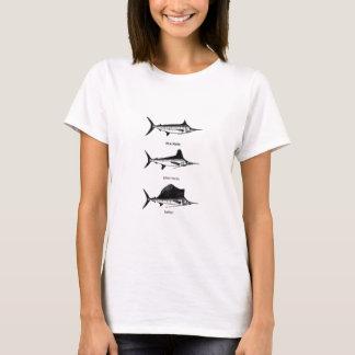 T-shirt Marlin blanc - Marlin bleu - logo de pélerin