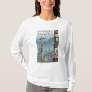 T-shirt Mâts totémiques de l'Alaska - Wrangell Alaska
