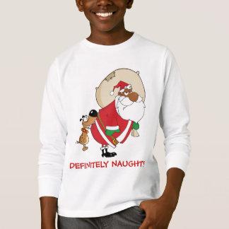 T-shirt Mauvaises morsures de chien Père Noël noir sur le