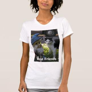 T-shirt Meilleurs amis de gnome de chat et de pelouse de
