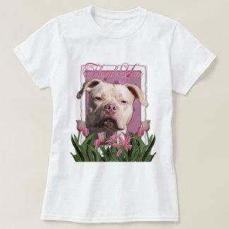 T-shirt Merci - tulipes roses - Pitbull - fille du Jersey