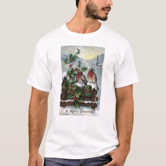 T-shirt Merles anglais sur Noël d'antiquité de barrière