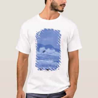 T-shirt mers agitées se brisant contre un rivage rocheux