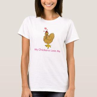 T-shirt Mes poulets m'aiment - la poule de couleur chamois