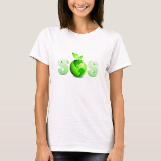 T-shirt Message de jour de la terre de la terre verte SOS