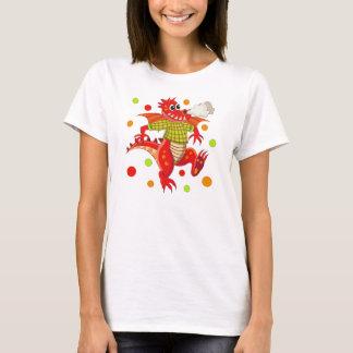 T-shirt mignon avec le dragon de bande dessinée