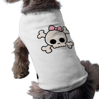 T-shirt mignon d'animal familier de crâne [fille]