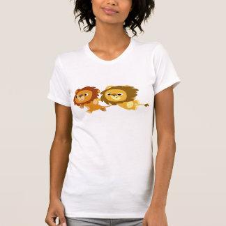 T-shirt mignon de femmes de lions de bande