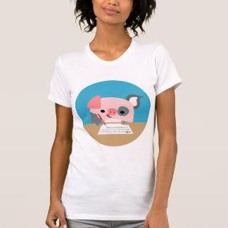 T-shirt mignon de femmes de porc d écriture de ban