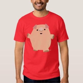 T-shirt mignon d'hommes de porc de bande dessinée