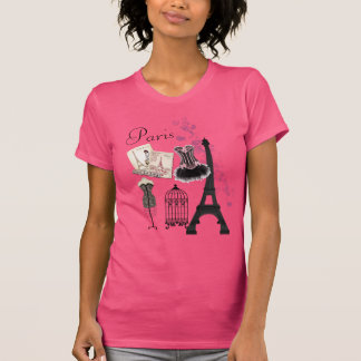 T-shirt Mode Romance vintage rose Girly chic de Paris