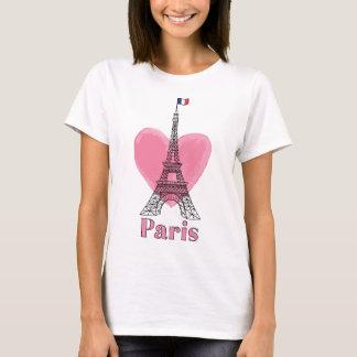 T-shirt moderne de Tour Eiffel d'amour rose frais