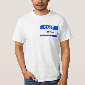 T-shirt Mon nom est Nametag fait sur commande bleu