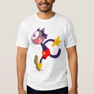 T-shirt monoculaire de bande dessinée de chat