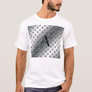 T-shirt Monogramme d'acier de plat argenté de diamant