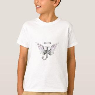 T-shirt Monogramme initial de la lettre J avec des ailes