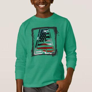 T-shirt Monogramme une initiale américaine de drapeau des