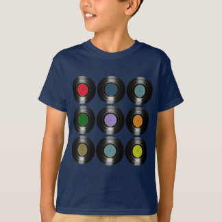 T-shirt motif de disques vinyle de couleur