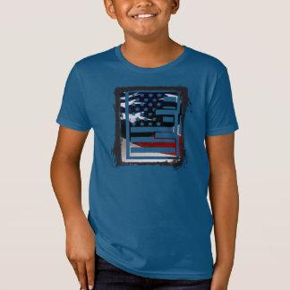T-Shirt Motif de drapeau des Etats-Unis d'initiale de