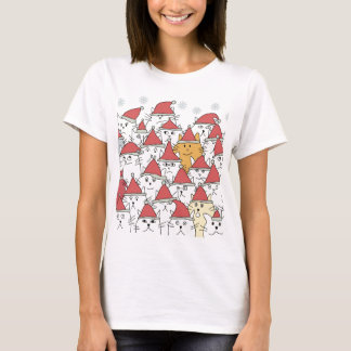 T-shirt Motif de Noël avec beaucoup de chats drôles