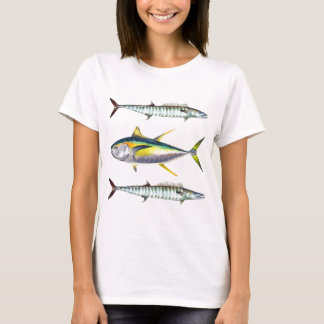 T-shirt motif de poissons de truite saumonnée et de wahoo