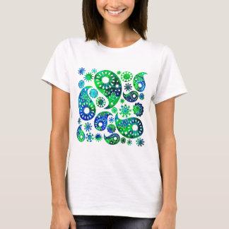T-shirt Motif tourbillonnant Paisley dans vert et le bleu
