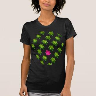 T-shirt Motif vert et rose de tortue