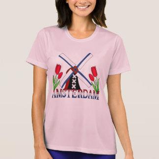 T-shirt Moulin à vent néerlandais de tulipes d'Amsterdam