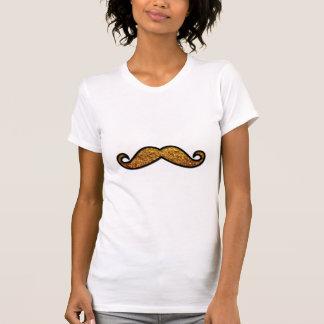 T-shirt Moustache de guidon, scintillement - or noir