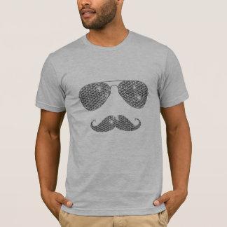 T-shirt Moustache drôle de diamant avec des verres