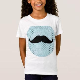 T-Shirt Moustache noire drôle sur le pois bleu turquoise