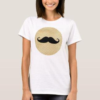 T-shirt Moustache noire drôle sur le pois jaune vintage