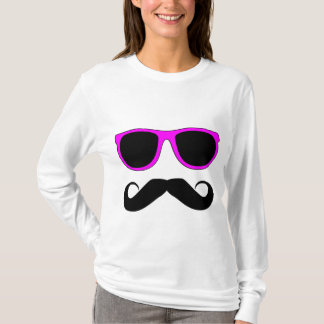 T-shirt Moustache rose en verre rétro