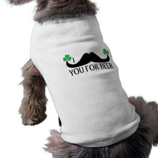 T-shirt Moustache vous pour le chien de trèfles de jour de