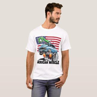 T-shirt Muscle américain (bleu) de hot rod de monstre des