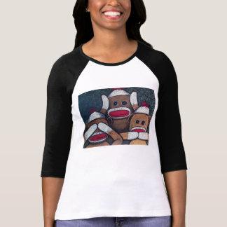 T-shirt Ne voir l'aucun singe de chaussette de mal