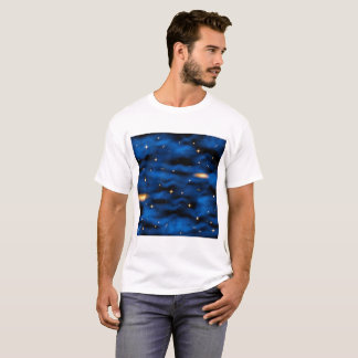 T-shirt Nébuleuse bleue de l'espace avec les étoiles