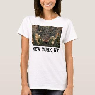 T-shirt Neige en baisse d'arbre central de Noël de NYC