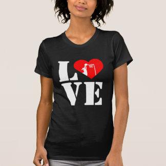 T-shirt Net-ball d'amour de thème de coeur et de joueur
