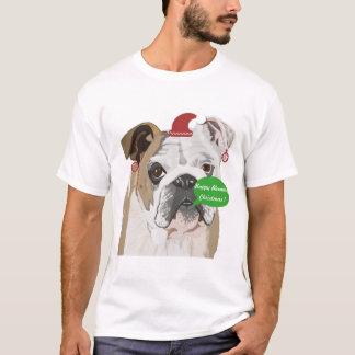 T-shirt Noël anglais drôle de bouledogue