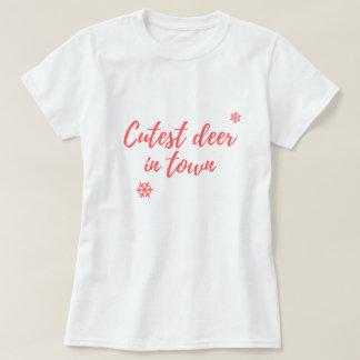 T-shirt Noël - Cutest deer in town - fun shirt