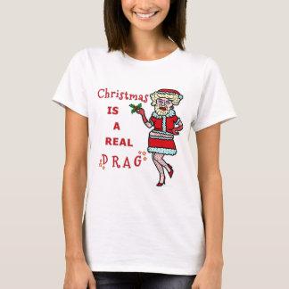 T-shirt Noël drôle Bah Père Noël fumiste dans l'entrave
