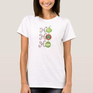 T-shirt Noël mignon Ho Ho Ho, ornements de sucres de canne