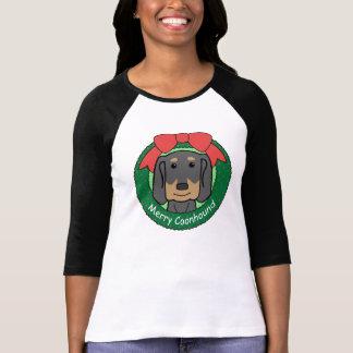 T-shirt Noël noir et bronzage de Coonhound