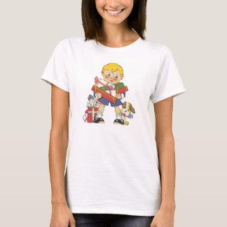 T-shirt Noël vintage, garçon avec des présents et chiot
