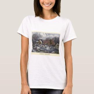 T-shirt Noël vintage, hiver tôt avec des patineurs de