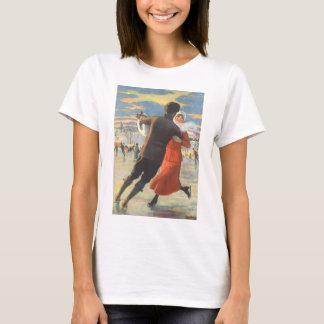 T-shirt Noël vintage, patinage de glace romantique de