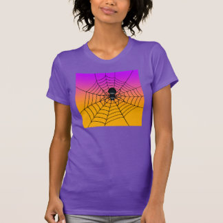 T-shirt noir d'araignée de Halloween de femmes