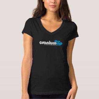 T-shirt noir de CraniumTap des femmes (V-cou)