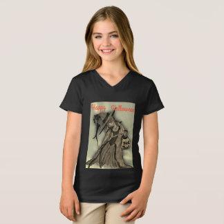 T-shirt noir de jersey de filles